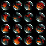 Set of 16 halloween buttons