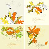 Set of autumn background