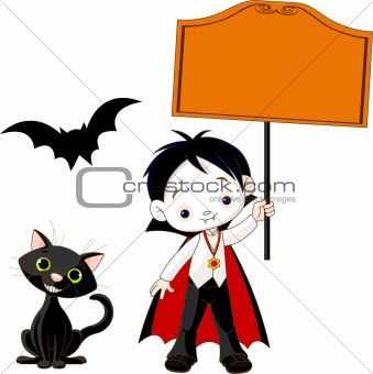 Dracula Boy holding blank sign