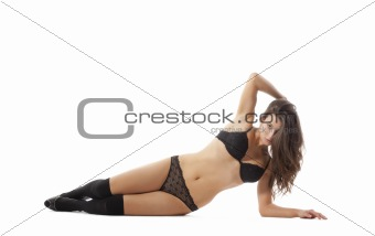 beautiful young woman in sexy black underwear - isolated on white