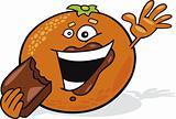 Orange eating chocolate