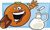 funny orange eat chocolate and pot of milk