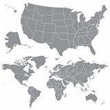 Vector USA Map and World Map