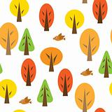 Seamless pattern with autumnal forest