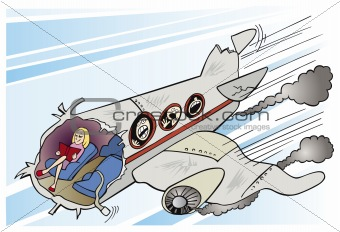 Calm girl and plane crush