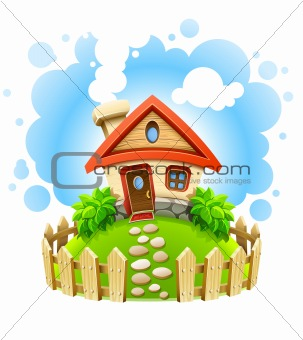 fairy-tale house on lawn with fence