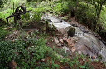Costa Rican river near and abandonded gold mine