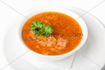 Bowl of vegetable borscht