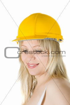 Beauty woman in helmet