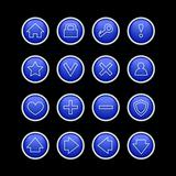 dark blue web icons on black