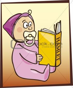 Baby reading Hamlet