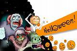 Illustration of terrible monsters in Halloween