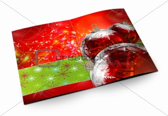 3D christmas postcards on a white background