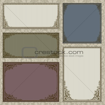 Vector Ornate Frame and Borders Set and Pattern
