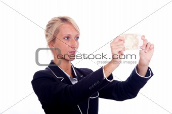 Business Young Woman Look Euro Banknote
