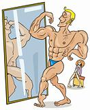 Muscular man and the mirror