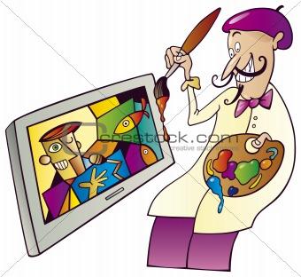 Painter painting on tv set