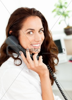 caucasian young businesswoman talking on phone