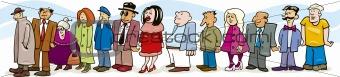 Description illustration of people in queue keywords queue people
