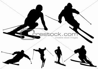 Skiers - vector