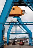 port cranes on a dock in the port of Brest (France)