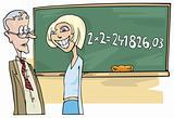 School girl with math problem