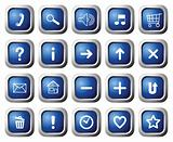 Square buttons with symbols.