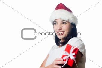 Beautiful christmas girl with a gift