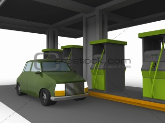 3D representation of a Car in a fuel station isolated in white