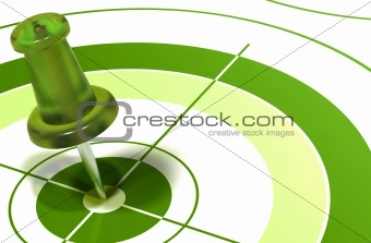 green pushpin on target