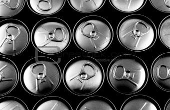Top view of closed soft drink cans