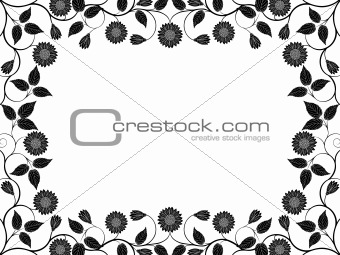 Abstract floral frame. Vector illustration.