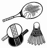 Tennis rackets and ball. Vector