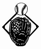 Silhouette baseball glove and a ball. Vector