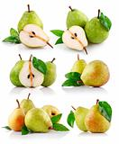 set fresh pear fruits with green leaf