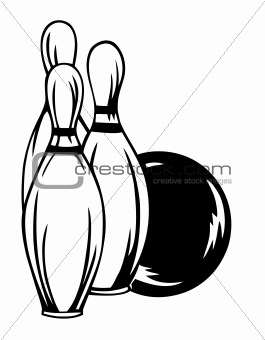 Bowling ball and pin isolated on white. Vector