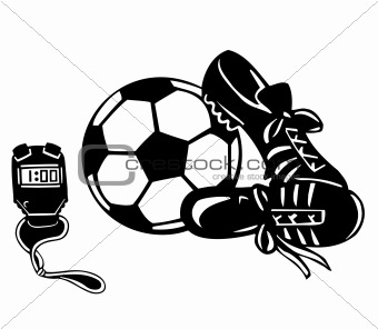 Footwear sports, ball and clock. Vector