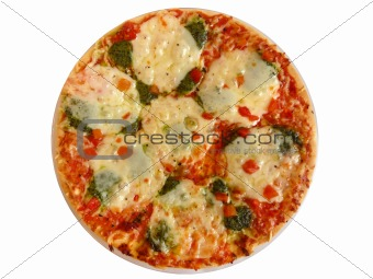 Appetizing pizza on white. In isolation