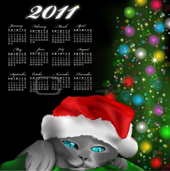 Calendar with cat with red New Year's cap. Vector