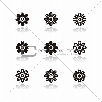 set of 9 flower icons