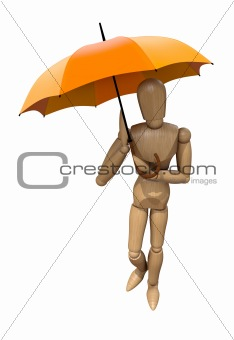 Posing wooden manikin with umbrella.