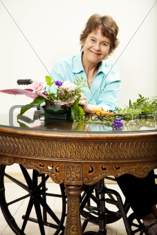 Disabled Woman Arranging Flowers