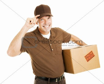 Polite Delivery Man Tips Hat