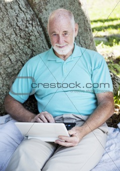 Senior Man with Netbook