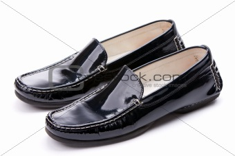 Black women's leather shoes