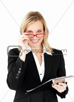 Positive businesswoman holding a clipboard