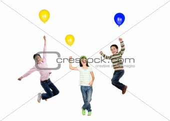 Three children flying with balloon inflated