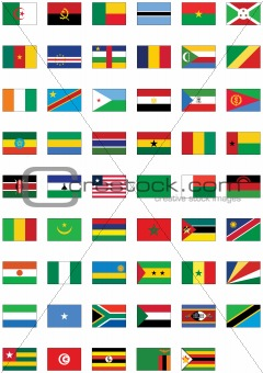 Vector flag set of all African countries.