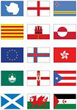 Vector flag set of world continents and misc. countries.