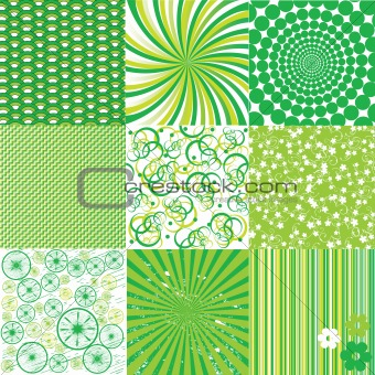Green and white backgrounds , nine patterns